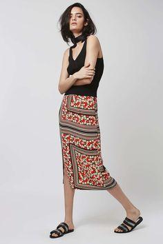 Floral Stripe Midi Skirt - Topshop