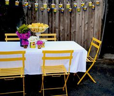 Fermob French Bistro Chair, love a little yellow. Outdoor Rooms, Outdoor Dining, Outdoor Decor, Patio Dining, Outdoor Projects, Dining Set, Outdoor Ideas, Garden Furniture, Outdoor Furniture Sets