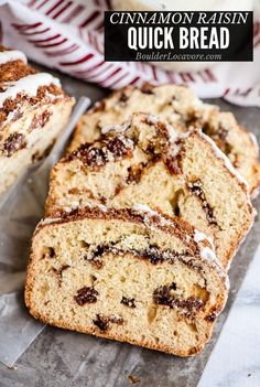 Easy Cinnamon Raisin Bread is packed with plump raisins and buttery cinnamon flavor. It's a quick bread so mix and bake! A favorite comfort foo. Regular and gluten-free options. Quick Bread Recipes, Bread Machine Recipes, Baking Recipes, Gluten Free Raisin Bread Recipe, Gluten Free Quick Bread, Raisin Recipes, Cinnamon Raisin Bread, Rasin Bread, Apple Cinnamon