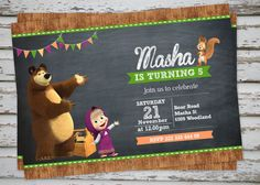 Masha and The Bear Birthday Party Invitation by DebsPrintables