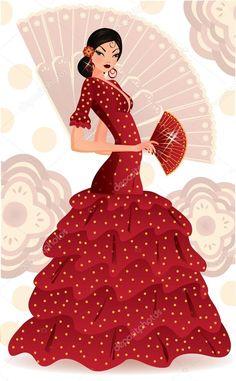 Descargar - Bailarina de flamenco español. ilustración vectorial — Ilustración de Stock #4818689