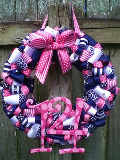 Navy and Pink Preppy Nautical Themed Ribbon Wreath by KraftinMommy
