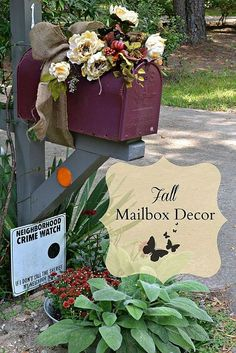 Fall started at the end of August for me.our mailbox was the start of it all! Fall Mailbox Decor, Mailbox Ideas, Mailbox Decorating, Mailbox On House, Mailbox Makeover, Fall Starts, Autumn Decorating, Decorating Ideas, Decor Ideas