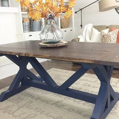 Love the choice of color on this DIY Farm table by txsizedhome on IG, free plans over at Ana-White.com