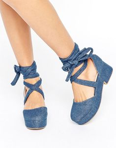 Get this Asos's cotton dress now! Click for more details. Worldwide shipping. ASOS OBLIVIAN Chunky Lace Up Shoes - Blue: Shoes by ASOS Collection, Faux suede upper, Lace-up ankle-strap fastening, Rounded toe, Chunky sole and heel, Wipe with a damp sponge, 100% Textile Upper. Score a wardrobe win no matter the dress code with our ASOS Collection own-label collection. From polished prom to the after party, our London-based design team scour the globe to nail your new-season fashion goals with…