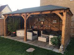 Backyard Landscaping Discover Atlas Gazebo with Full Panels Backyard Pavilion, Backyard Gazebo, Backyard Landscaping, Pergola Patio, Porch Gazebo, Pavers Patio, Landscaping Ideas, Backyard Zipline, Wooden Garden Gazebo