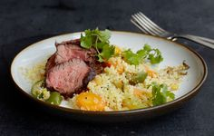 Hanger Steak with Spicy Lemon Couscous - Chopped lemon pulp and peel are added to the couscous for a complex bittersweet flavor.