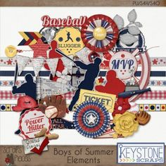 Boys Of Summer: Elements Keystone Scraps- $1.00 : Scraps N Pieces Store Great Baseball Kit!