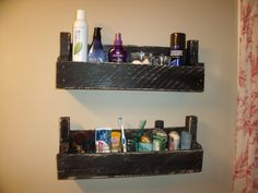 Pallet shelves in our bathroom to hold our stuff.