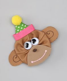 Take a look at this Pink & Brown Birthday Monkey Clip by Picture Perfect Hair Bows on #zulily today!
