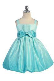 Click to enlarge : Gorgeous Aqua Ombre Printed Satin Bubbled Hem Short Flower Girl Dress A3412-GR