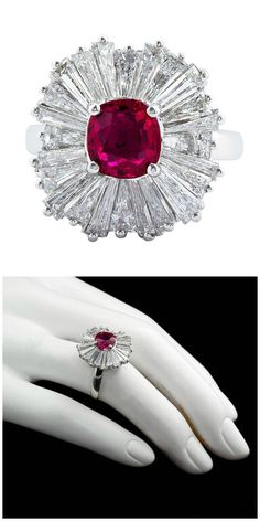 A classic ballerina ring ring with a carat cushion cut ruby center and three carats of diamonds.A classic ballerina ring ring with a carat cushion cut ruby center and three carats of diamonds. Diamond Cluster Engagement Ring, Shop Engagement Rings, Engagement Ring Settings, Vintage Engagement Rings, Celtic Wedding Rings, Thing 1, White Gold Rings, Unique Rings, Ring Designs