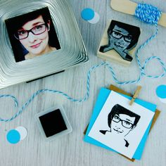Personalised portrait rubber stamp by Skull and Cross Buns
