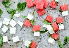Watermelon-Feta-Basil Bites by floatingkitchen #Appetizer #Watermelon #Feta #Basil #Healthy