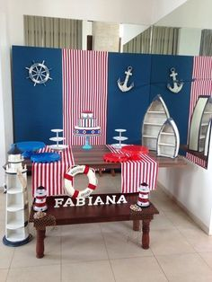 Tri-fold board wrapped with wrapping paper. Baby Shower Parties, Baby Shower Themes, Baby Boy Shower, Baby Shower Decorations, Sailor Party, Sailor Theme, Nautical Birthday Cakes, Nautical Party, Ocean Party