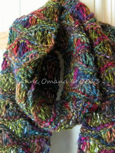 Hand knitted hand dyed multicolored scarf  by Anneatcountrybazaar, £30.00