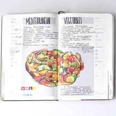 Recipe journal 2014 by Sally Mao, via Behance- Tye king od recipe journal I alwyas wnared. I should draw my own. Mediterranean Vegetables Recipe, Recipe Graphic, Food Journal, Recipe Journal, Recipe Drawing, Recipe Cover, Travel Sketchbook, Watercolor Journal, Watercolor Food