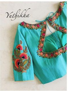 Pattu Saree Blouse Designs, Bridal Blouse Designs, Navratri Dress, Embroidered Blouse, Blouse Styles, Boho Shorts, Hand Embroidery, Sarees, Blouses