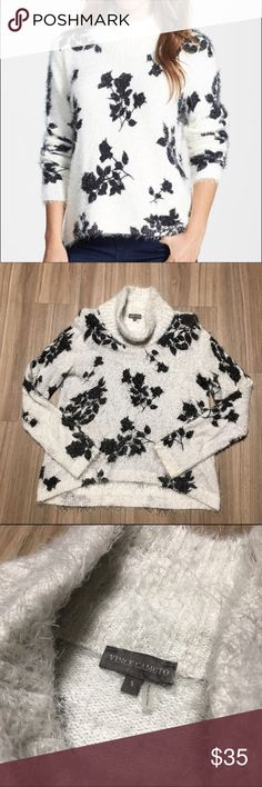 Vince Camuto Fuzzy Black & White Floral Sweater Worn but great condition! White eyelash knit sweater with black floral print. Slouchy neck. Super soft and fuzzy! Vince Camuto Sweaters Cowl & Turtlenecks