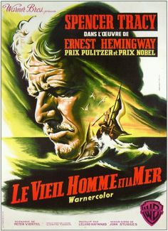 Directed by John Sturges, Fred Zinnemann. An old Cuban fisherman's dry spell is broken when he hooks a gigantic fish that drags him out to sea. Ernest Hemingway, Fred Zinnemann, Prix Nobel, Bros, See Movie, Out To Sea, Old Men, Cinematography, Old Things