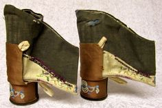"RARE w/ HEELS! ANTIQUE SILK HAND EMBROIDERED CHINESE FOOT BINDING DRESS SHOES 4"" #handmadeinChina"