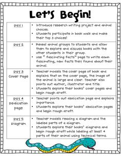 research project lesson plans for first grade