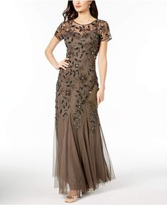 Adrianna Papell Floral-Beaded Gown Emulate Hollywood glamour in this enchantingly embellished floor-length gown by Adrianna Papell. Evening Dresses With Sleeves, Mob Dresses, Short Sleeve Dresses, Bridesmaid Dresses, Short Sleeves, Dress Outfits, Fashion Dresses, Dress Up, Women's Fashion
