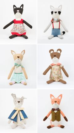 Walnut Animal Society Handmade Toys, Dolls, Softies