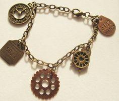 STEAMPUNK CHARM BRACELET,Ladies Bracelet,Teen Bracelet,Jewelry,Gift for Teen Girl,Gift for Gal,Steampunk Jewelry,Charm Bracelet.