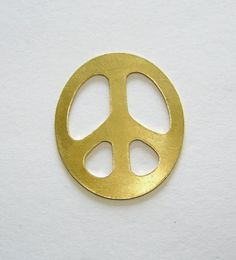 Brass Stamping Blanks Peace Sign 1 1/4 Inch 24ga Pkg Of 4 Supplies $5.49