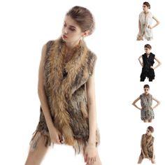 3a7bc93b6a Womens Rabbit Fur Vest Tassel Real Rabbit Fur knitted Rabbit Warm Jackets  Cheap