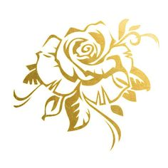2 PACK Gold Rose Metallic Temporary Tattoo