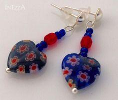 Ohrstecker Ohrhänger Herz Millefiori blau rot von INEZZA  -  Geschenkestübchen auf DaWanda.com