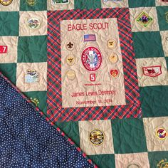 I had this queen size quilt made for my son when he achieved the rank of Eagle Scout. It is make entirely of up cycled boy scout Class A and Class B uniforms, as well as the neckerchief from Weebelos. I saved all of his patches since Cubs and wanted to do something special with them.Suzy from Completely Quilted did a fantastic job quilting this for me. She used the official BSA emblem in the quilting pattern. This will be a treasured keepsake.