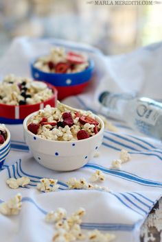 Tutti Frutti Popcorn (red, white & blue) | FamilyFreshCooking.com GREAT for July 4th!