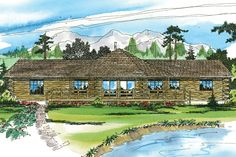 This contemporary log cabin home plan is centered around a hexagonal great room with a woodstove. Panoramic views and sliders that open onto three-sided deck make this a perfect vacation home. There i