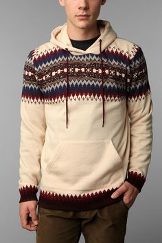 Blue Squares Fair Isle Center Stripe Pullover Hoodie $49.00 Online only #hoodie