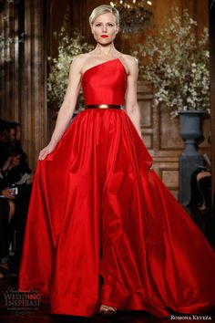 romona keveza ready to wear fall winter 2013 2014 red strapless gown silk shantung taffeta asymmetrical neckline flowing circle skirt style e1359