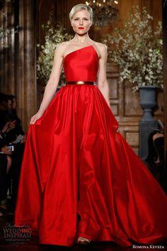 romona keveza ready to wear fall winter 2013 2014 red strapless gown silk shantung taffeta asymmetrical neckline flowing circle skirt style e1359