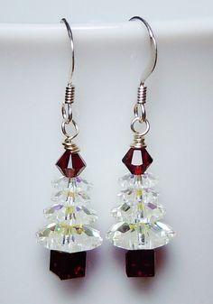 Pendientes de árbol de Navidad rojo Siam y cristal de Swarovski AB