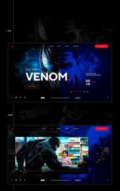 Venom 2018 web concept design on Behance Site Web Design, Web Design Tutorials, Web Design Services, App Design, Design Websites, Web Layout, Layout Design, Site Portfolio, Web Movie
