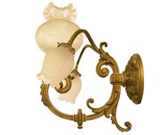 For Sale on - These French gilt bronze wall scones were originally gas and have been converted to electric. They are three-arm fixtures with two arms going down and Bronze Wall Sconce, Wall Sconce Lighting, Candle Sconces, Wall Sconces, Wall Appliques, Vintage Wall Lights, Wall Light Fixtures, Contemporary Lamps, Glass Globe