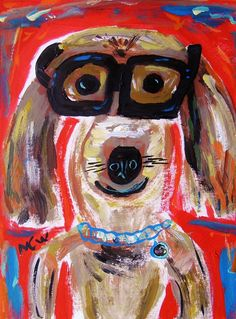 Lester in Glasses Dog Original Acrylic Painting Mary Carol Williams art MCW Primitive Folk Self Taught Lady