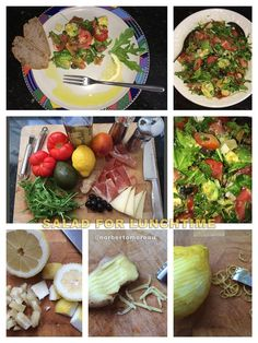 Here we go with several ingredients ... ... tomatoes, avocados, rukola, red orange, black olives, jam (spanish jamon serrano), hard sheep cheese, pepper, some herbs, high quality olive oil with lemon juice, lemon slices of the skin and a touch of ginger. (... more in the comments section)
