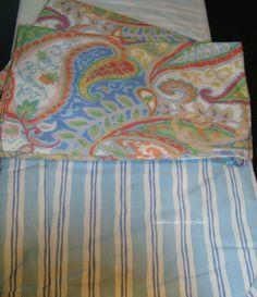 Ralph Lauren Pastel Green Orange Blue White Paisley Queen Comforter ...
