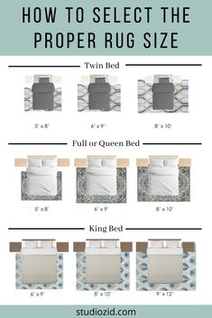 How to Select the Proper Sized Rug for a Bedroom — Studio Z Interior Design Home Bedroom, Master Bedroom, Bedroom Rugs, Bedroom Ideas, Queen Bedroom, Design Bedroom, Rug Under Bed, Interior Design Guide, Beautiful Houses Interior
