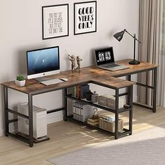 Tribesigns 94 5 inch Computer Desk Extra Long Two Person Desk with Storage Shelves Double Workstation Office Desk Study Writing Desk for Home Office Rustic Brown Home Kitchen Home Office Desks, Furniture, Home Office Setup, Desk Storage, Home, Double Desk, Storage Shelves, Home Desk, Home Office Design