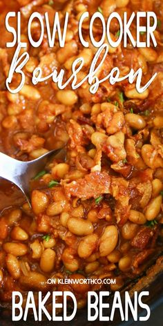 These Bourbon Baked Beans are a summer staple. Loaded with bourbon, brown sugar & bacon & the ease of a slow cooker makes these the best side dish to go with all your summer grilling. Grilling Recipes, Slow Cooker Recipes, Crockpot Recipes, Cooking Recipes, Slow Cooking, Healthy Recipes, Dishes To Go, Best Side Dishes, Vegan Kitchen
