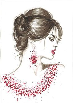 Watercolor Fashion Illustration Modern Art Painting titled Red Wine