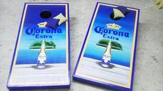 Blue gold and beautiful corona cornhole boards and matching bags.